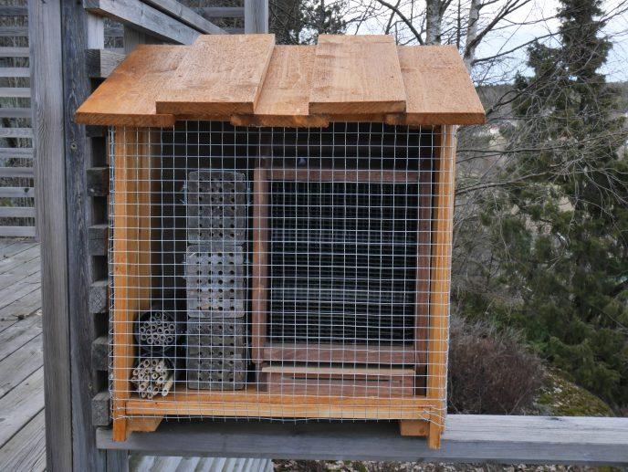 Et av biehusene brukt til oppformering av hornmurerbier. Nettingen foran beskytter mot fugler.Foto: John Ingar Øverland